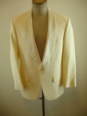 Mens 38R Brooks Brothers Ivory White One-Button Dinner Jacket Satin Shawl Collar