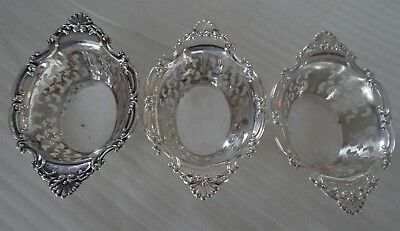 Birks STERLING SILVER Lot of 3 small Nut or Candy dishes pierced