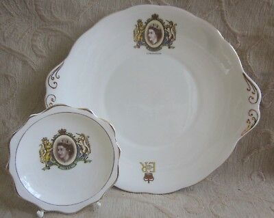 2 vintage 1952 ROYAL ALBERT bone china QUEEN ELIZABETH II CORONATION Plate, Dish