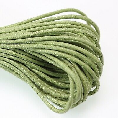 30 Meters Soft Green Waxed Cotton Beading Cord Thread Line 2mm Jewelry String