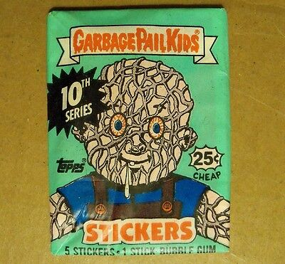 Garbage Pail Kids Stickers Unopened Wax Pack, Topps ©1987 10th Series w/ 25¢