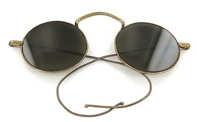 .SCARCE c1920s / 1930s WILLSON FLEXIBLE WIRE ARM SUNGLASSES. ROUND GREEN LENSES.