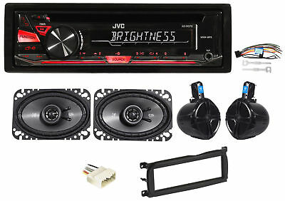 "JVC CD Receiver+8"" Rollbar Speakers+(2) 4x6"" For 2003-2006 Jeep Wrangler"