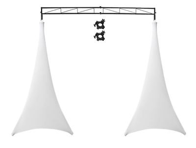 Odyssey LTMTS8 Lighting Truss Light Stands + Scrim Werks SWLTPSWHT White Cover
