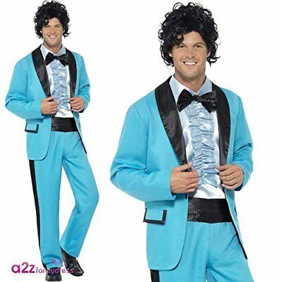 80S PROM KING Costume, Blue, with Jacket, Trousers and Mock Tuxedo ...