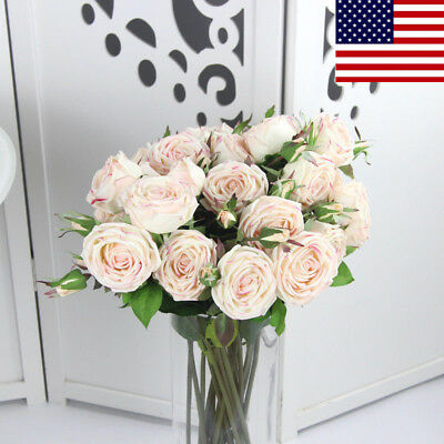 Real Touch Artificial Flowers Silk Light Pink Rose W/ Bud Wedding Home Bouquet