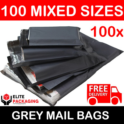 100 Large Mixed Grey Mailing Postal Bags 60mu 25 Each Of 13x19 14x16 16x21 17x24