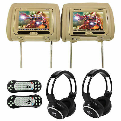 "Rockville RVD721-BG 7"" Beige Dual DVD/USB/HDMI Car Headrest Monitors+Headphones"