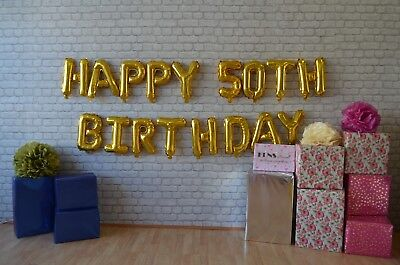 "HAPPY 50TH BIRTHDAY 16"" Balloons Foil Rose Gold Silver Letters Banner Garland"