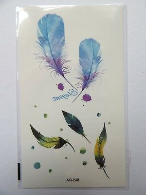 Blue And Green Feathers Temporary Tattoos Aq248
