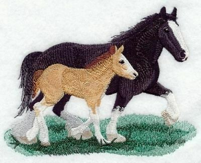 Embroidered Long-Sleeved T-Shirt - Clydesdale Pair M1710 Sizes S - XXL