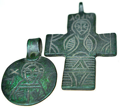 Byzantine Bronze Icon Pendant & Byzantine Bronze Cross Pendant Set
