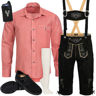 Traditional Costume Set 6pcs Men's Leather Trousers with Suspender