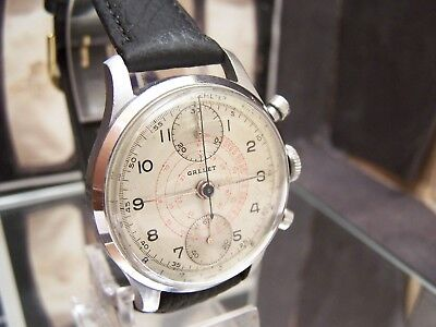 Antique Vintage C1945-50 Gallet Up / Down 2 Reg Chronograph Venus 170 Watch