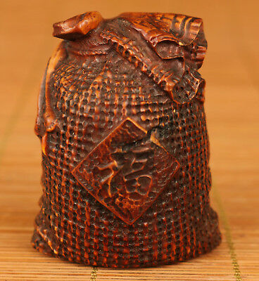 Rare Chinese Old Boxwood Handmade Carved Blessing Sack Statue Netsuke Art Gift