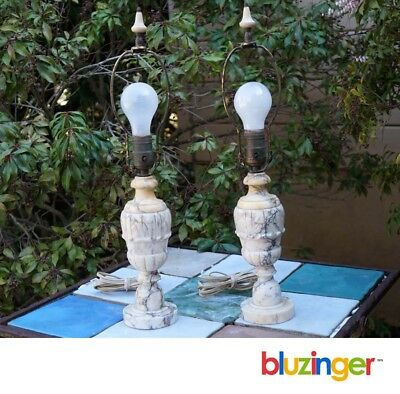 Vintage Matched Pair of Italian Alabaster Marble Electric Table Lamps