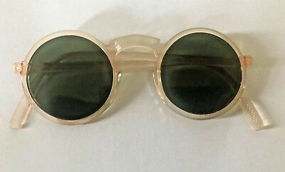 Vintage 1930's Bakelite Celluloid Art Deco Sunglasses With Green Tinted Lenses
