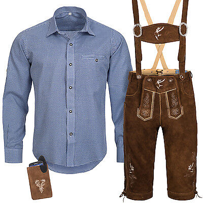 Traditional Costume Set Men's Lederhose with Uniform Strap Shirt Bag Oktoberfest