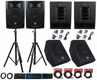"Rockville PA System w/ 15"" Speakers+15"" Subwoofers+12"" Monitors+Stands+Cables"