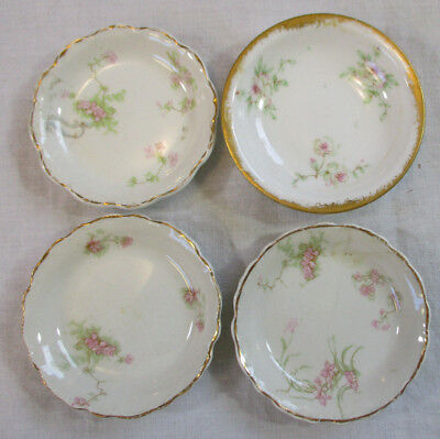 Lot of 4 Vintage Butter Pats Plates 3-Johnson Bros 1-Limoges Pink Roses EXVC