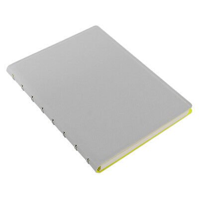 Filofax Saffiano Fluoro Notebook - Grey with Yellow Inside - A5 - 115074 New