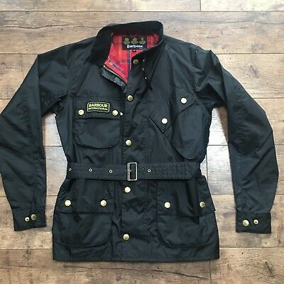 Men's Barbour Nylon International Black Belted Jacket Size Small