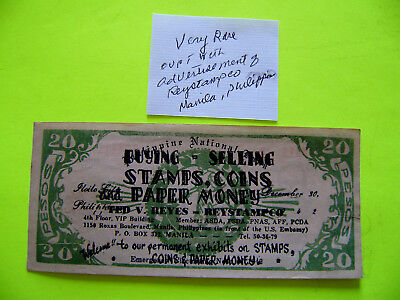 Philippines Emergency Guerilla  Money Bank Note Advertising Coin & Stamp Sales