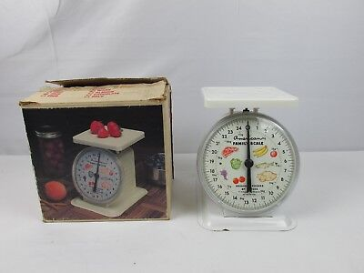 Vintage White American Family Scale Kitchen Canning Platform Scale 25 lbs w/ Box