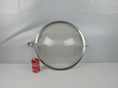 "Vintage Old Glass Spotlight Lens 18"" Large Heavy Glass w/ Bracket VERY COOL RARE"