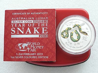 2013 Australia Berlin WMF Lunar Snake $1 One Dollar Silver 1oz Coin Box Coa