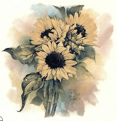 "2 Watercolor Sunflower Sun Flower 4-1/4"" Waterslide Ceramic Decals Xx"