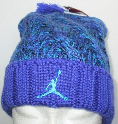 Men s Nike Jordan Jumpman Cable Beanie Pom Blue Lagoon purple One Size 61ae26675d0