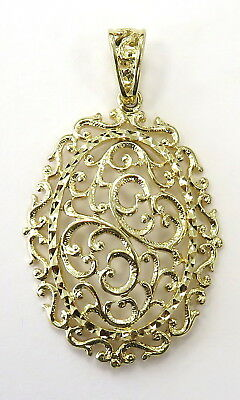 7e794b41b7f53 14K YELLOW GOLD Oval Shape Filigree Floral Style Charm Necklace Pendant ~  3.3g