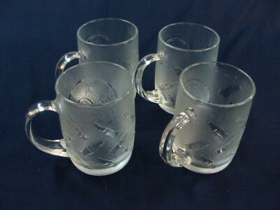 Coca Cola Clear Textured Glass, 4 Vintage Coffee Cups Mugs 10 oz