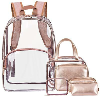 6 in 1 Clear Backpack with Cosmetic Bag & Case Transparent PVC School Backpack