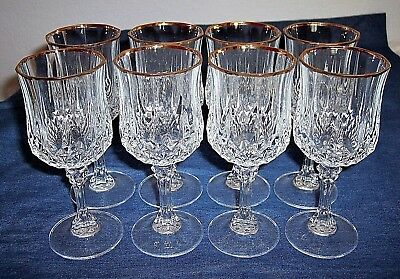 Vintage Heavy Cristal D'Arques Longchamp 22K Gold French Crystal Wine Glass Set