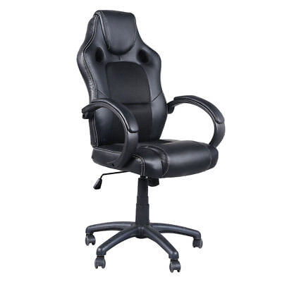 Black Leather Executive Swivel Office Chair Race Car Style Bucket Seat High