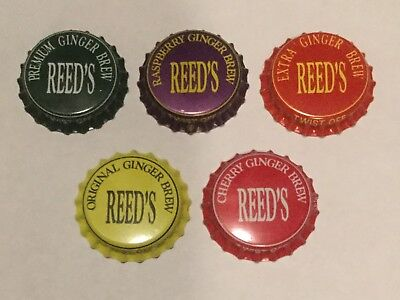 5 unused Reed's Ginger Brew plastic lined soda bottle caps 5 different