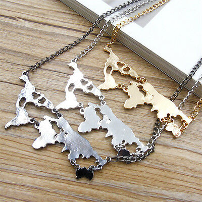 New Retro World Map Big Pendant Necklace Women's Men's Chain Jewelry Cool Gift