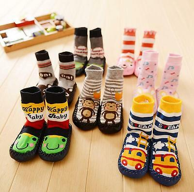 Fashion Cute Cartoon Kids Toddler Baby Anti-slip Shoes Boots Slipper Socks New