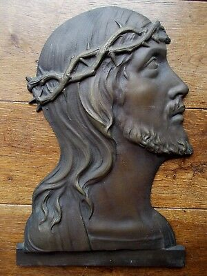 Antique Bronze Plaque~Religious~Church~Jesus Christ Wearing The Crown Of Thorns