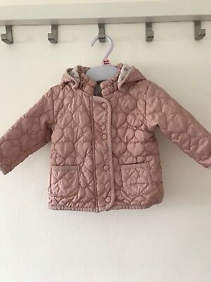 Baby Girls Next dusty Pink Hooded Quilted Coat Age 6-9 Months