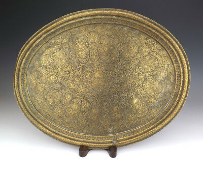 Antique Indian Benares Mughal Hand Incised Tray - Lovely!