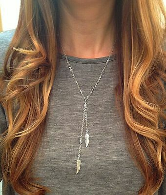 Fashion Womens Boho Leaf Feather Pendant Gold Plated Tassel Long Chain Necklace