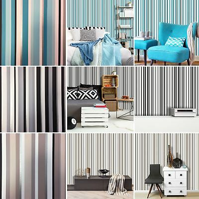 Stripe Wallpaper Metallic Shiny Modern Luxury Barcode Striped Stripey 3 Colours