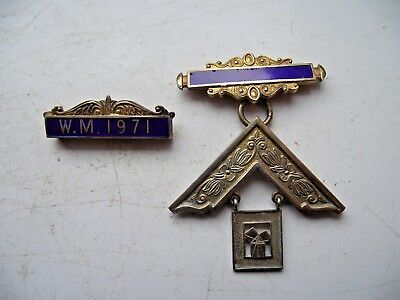 1972 Masonic Medal Sterling Silver Hallmarked Enamel Set Square & Bar See Pics