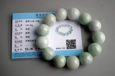 Certified Natural icy Burma jadeite jade 18mm big bades bracelet Grade A 100%