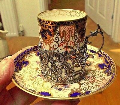 CROWN DERBY Imari Coffee Cup/Can HM SILVER Holder 1906 Army Navy Coop Society L