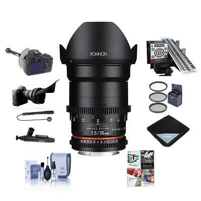 Rokinon 35mm T1.5 Cine VDSLR Wide-Angle Lens Canon EF Mount With Pro Acc Bundle