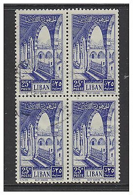 Lebanon - 1954, 25p Palace stamp in block of 4 - F/U - SG 488